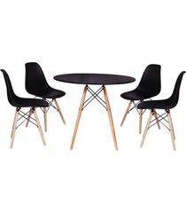 conjunto mesa de jantar impã©rio brazil eiffel - incolor/preto - dafiti