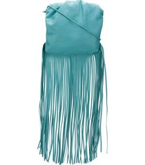 bottega veneta the fringe pouch shoulder bag - blue