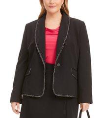 kasper plus size chain-trim shawl-collar single-button blazer