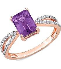 saks fifth avenue women's 14k rose gold, amethyst & diamond crossover ring - size 6