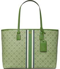 tory burch green t monogram tote bag