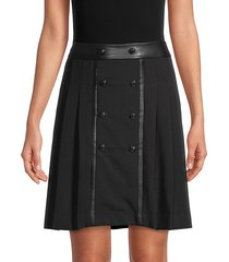 button-front pleated skirt