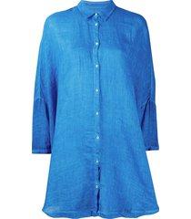 120% lino button tunic-shirt - blue