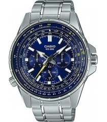 reloj analógico hombre casio mtp-sw320d2a cronógrafo - plateado con azul