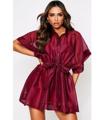 'neave' mesh dress, burgundy