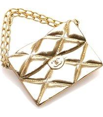 chanel matelasse flap bag brooch gold sz: