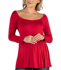 24seven comfort apparel long sleeve square neck empire waist maternity tunic top