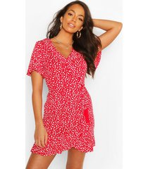 dalmation print ruffle tea dress, red
