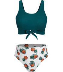 plus size front tie pineapple print bikini swimsuit