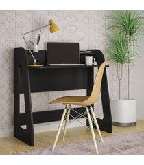 mesa escrivaninha cyber 2 prateleiras preto - artely