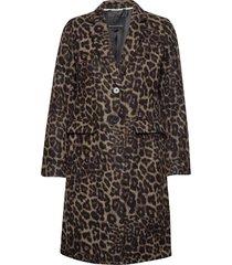 leopard print top coat wollen jas lange jas bruin banana republic
