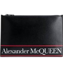 alexander mcqueen clutch listrada com logo - preto