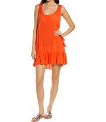 women's chelsea28 tayla side tie cover-up minidress, size x-large - orange