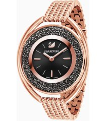 orologio crystalline oval, bracciale di metallo, nero, pvd oro rosa