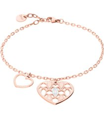 bracciale in bronzo rosato con due charm cuore per donna