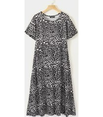 leopardo negro redondo cuello mangas cortas vestido