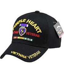purple heart vietnam veteran military cap hat black baseball velcro