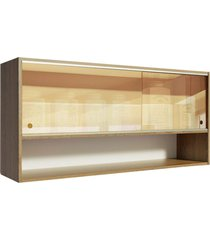 armã¡rio aã©reo madesa emilly 2 portas de correr de vidro reflex com nicho aberto - rustic marrom - marrom - dafiti