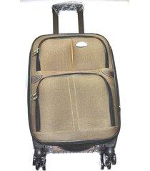 maleta de lona s1 mediana 24pulgadas- café con naranja