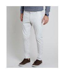 calça de sarja masculina chino slim bege claro