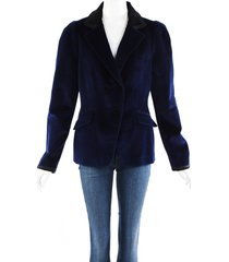 altuzarra blue velvet silk satin blazer jacket blue/black sz: l