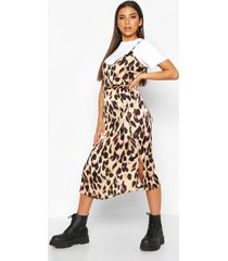 leopard satin slip dress, brown