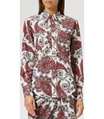 isabel marant women's tania printed techno shirt - white/red - fr 40/l - multi