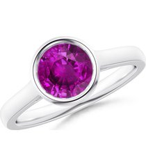 14k white gold over round cut red ruby women's solitaire engagement ring