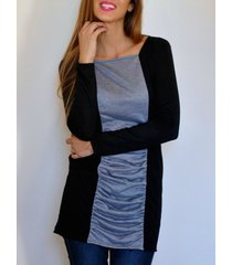 casual women's square neck long sleeves color splicing pleated dress