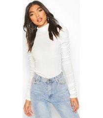 tall roll neck ruched sleeve rib sweater, ivory