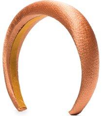 jennifer behr thada hammered silk headband - orange