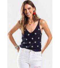 cortney stars sweater tank top - navy
