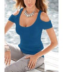 camiseta de manga corta con hombros descubiertos y liso azul