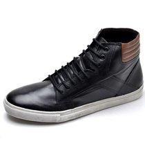 sapatenis tenis masculino cano curto original confort  couro preto - preto - masculino - couro - dafiti