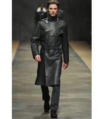 men leather coat winter long  leather coat genuine real leather trench coat-uk41