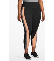 lane bryant women's active capri legging - colorblock twist 26/28 black/peach
