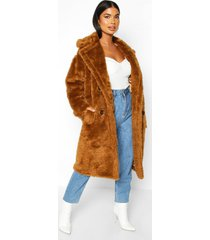 petite longline double breasted faux teddy coat, tobacco
