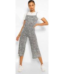 t-shirt & leopard print cami jumpsuit 2 in 1 set, grey