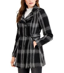 bcx juniors' double breasted chunky plaid coat