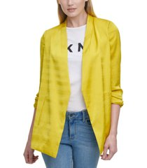 dkny solid scrunch-sleeve collarless blazer