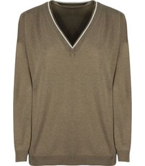 brunello cucinelli virgin wool, cashmere and silk sweater