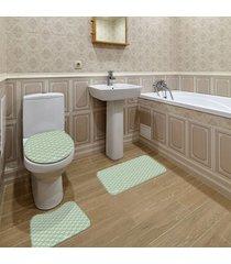 jogo de banheiro ornamental verde ãšnico - verde - dafiti