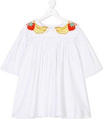 raspberry plum charlotte dress - white