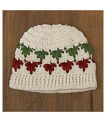 100% alpaca crocheted hat, 'holly and ivy' (peru)