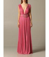 elisabetta franchi dress elisabetta franchi long dress in lurex fabric with belt