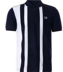 fred perry striped piqué polo shirt | navy | m1620-608