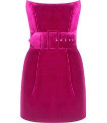silk velvet corset mini dress magenta