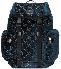 gucci mochila média em veludo gg - azul