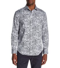 tallia men's slim-fit stretch paisley long sleeve shirt