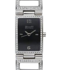 orologio solo tempo con cinturino e cassa in acciaio e strass, quadrante nero - 1661133 per donna